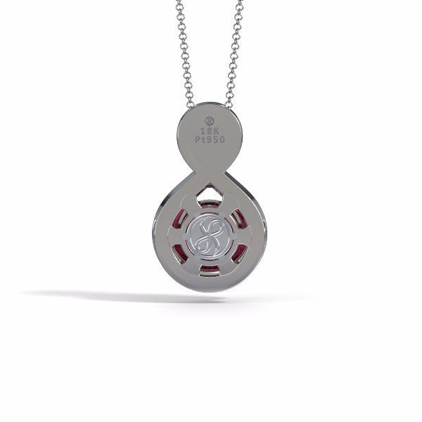 Memorial Jewelry - Eternity Pendant in 18k White Gold with Garnet - Back