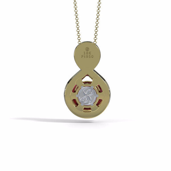 Memorial Jewelry - Eternity Pendant in 18k Yellow Gold with Garnet - Back