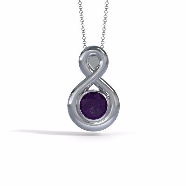 Memorial Jewelry - Eternity Pendant in 18k White Gold with Amethyst - Front