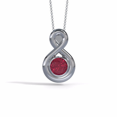 Memorial Jewelry - Eternity Pendant in Platinum with Garnet - Front
