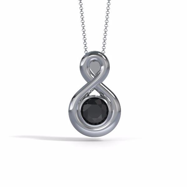 Memorial Jewelry - Eternity Pendant in Platinum with Black Onyx - Front