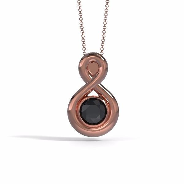 Memorial Jewelry - Eternity Pendant in 18k Rose Gold with Black Onyx - Front