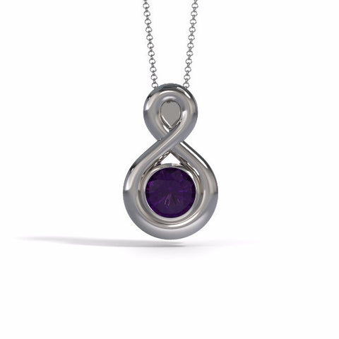 Memorial Jewelry - Eternity Pendant in Platinum with Amethyst - Front