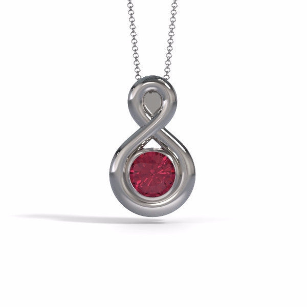 Memorial Jewelry - Eternity Pendant in 18k White Gold with Garnet - Front
