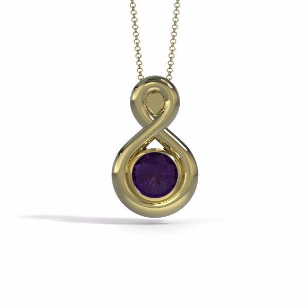 Memorial Jewelry - Eternity Pendant in 18k Yellow Gold with Amethyst - Front