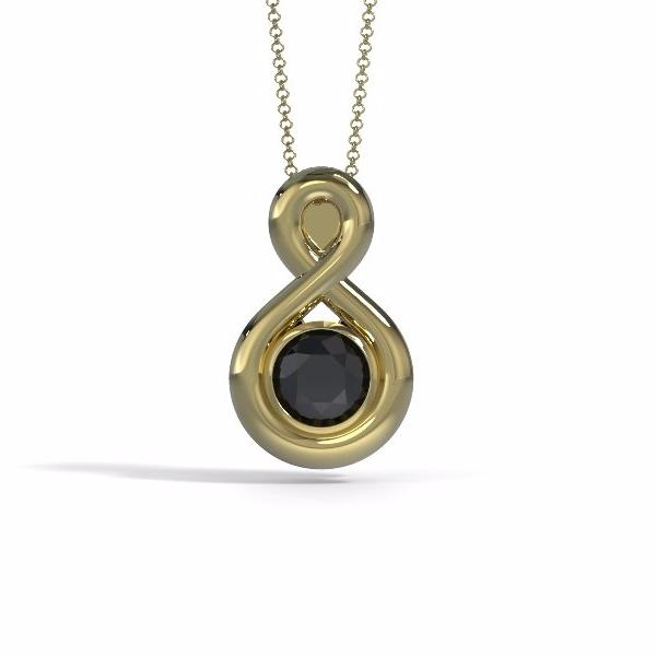Memorial Jewelry - Eternity Pendant in 18k Yellow Gold with Black Onyx - Front
