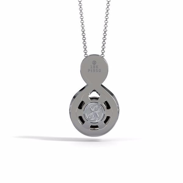 Memorial Jewelry - Sparkling Eternity Pendant (Large) in 18k White Gold with Black Onyx and Diamonds- Back