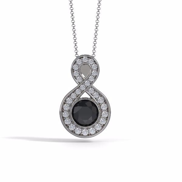 Memorial Jewelry - Sparkling Eternity Pendant (Large) in 18k White Gold with Black Onyx and Diamonds- Front