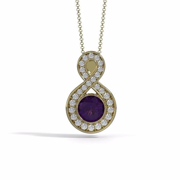 Memorial Jewelry - Sparkling Eternity Pendant (Large) in 18k Yellow Gold with Amethyst and Diamonds- Front