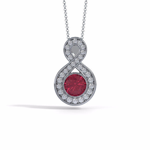 Memorial Jewelry - Sparkling Eternity Pendant (Large) in Platinum with Garnet and Diamonds- Front