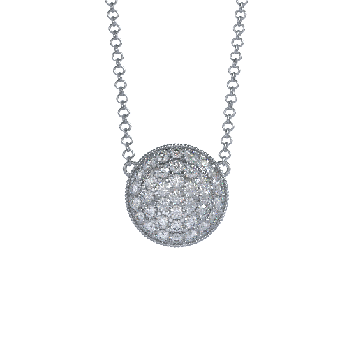 Soleil Cremation Pendant for ashes in Platinum with Diamonds - Front View