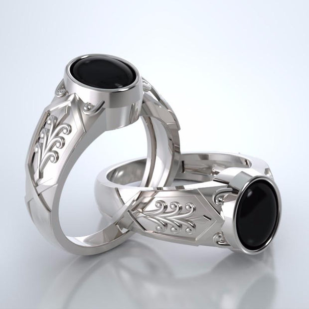 Acanthus Cremation Ring in 18k White Gold