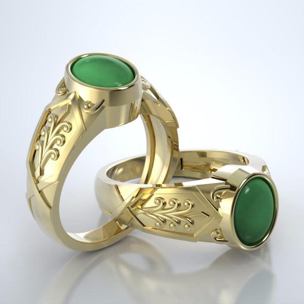 Acanthus Cremation Ring in 18k Yellow Gold