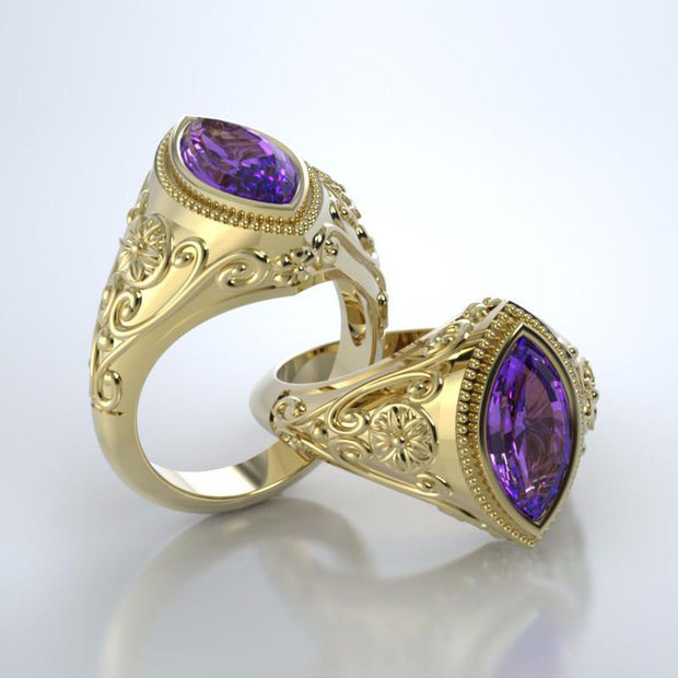 Cassandra Cremation Ring in 18k Yellow Gold