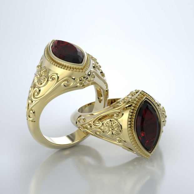 Cassandra Memorial Ring in 18K Yellow Gold with Mozambique Garnet