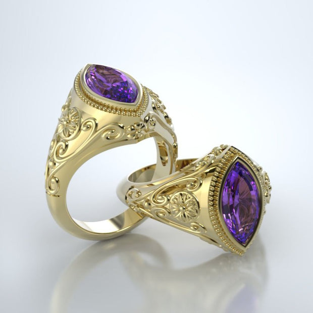 Cassandra Memorial Ring in 18K Yellow Gold with Amethyst