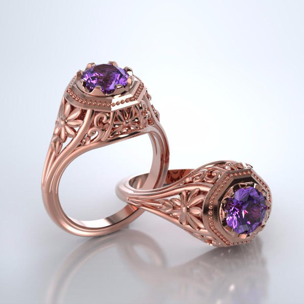 Daisy Cremation Ring in 18k Rose Gold