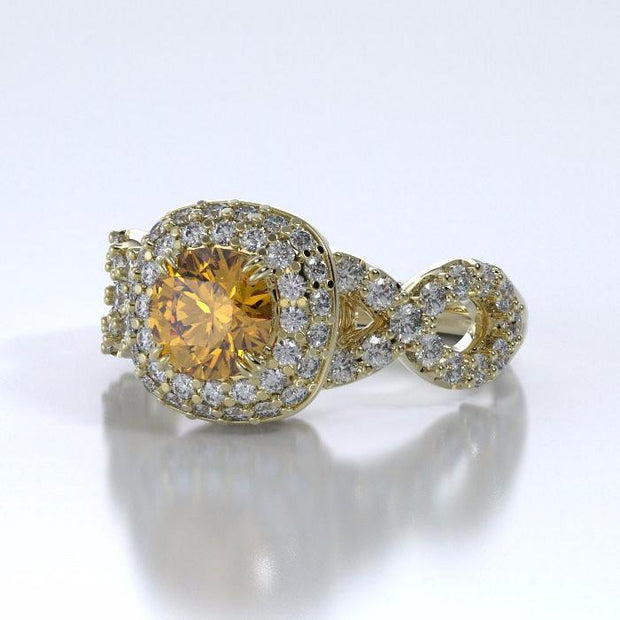 Diamants Entourant Cremation Ring in 18k Yellow Gold with Diamonds