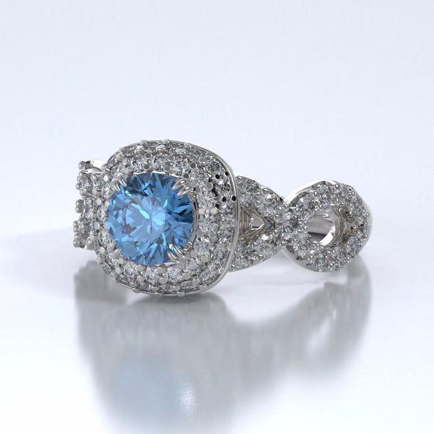 Diamants Entourant Ring in 18k White Gold with Diamonds