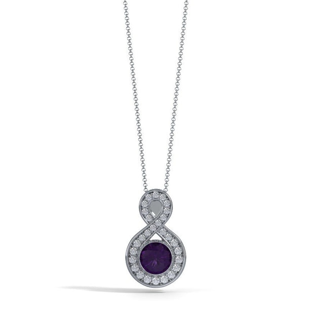 Large Diamond Eternity Pendant in Platinum with Amethyst Front