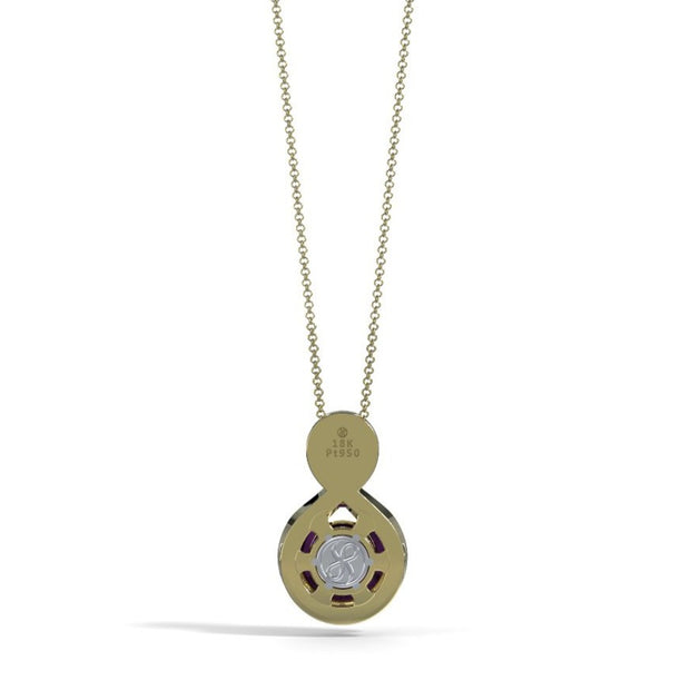 Large Diamond Eternity Pendant in 18K Yellow Gold with Amethyst Back