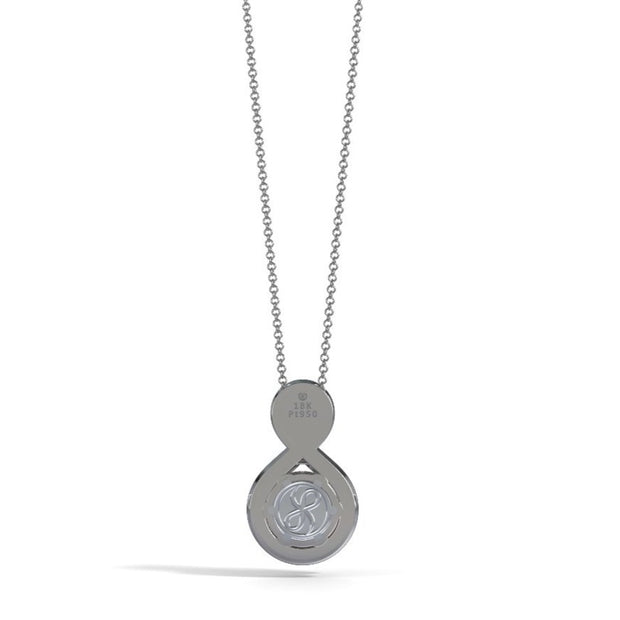 Medium Eternity Memorial Pendant in 18K White Gold with Amethyst Back