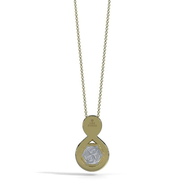 Medium Eternity Memorial Pendant in 18K Yellow Gold with Garnet Back