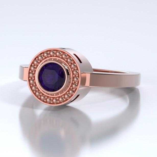 Mystere Solitaire Cremation Ring in 18k Rose Gold