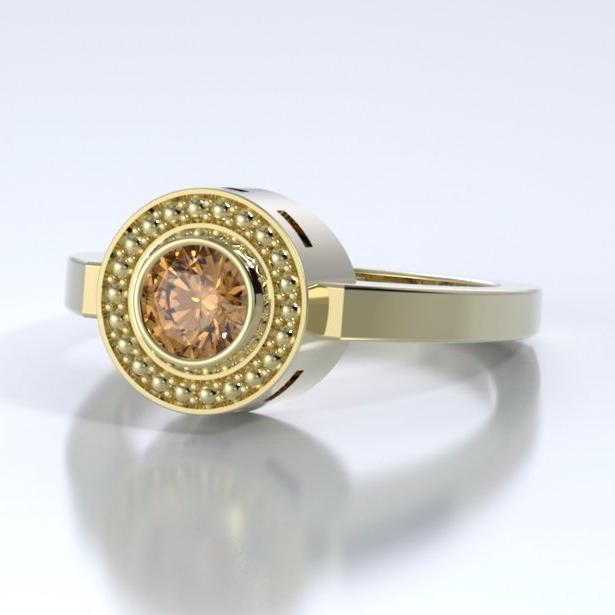 Mystere Solitaire Cremation Ring in 18k Yellow Gold