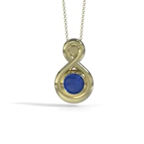 Eternity Cremation Pendant (Medium) in 18k Yellow Gold with Blue Sapphire