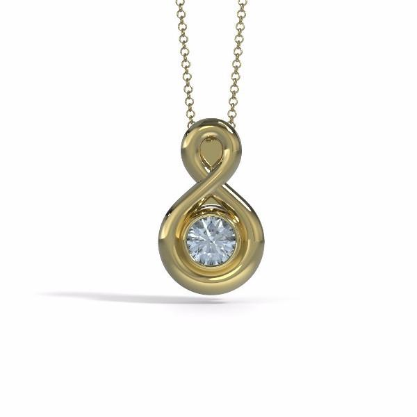 Small Eternity Cremation Pendant in 18k Yellow Gold