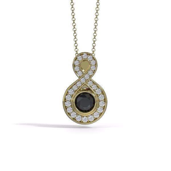 Small Sparkling Eternity Cremation Pendant in 18k Yellow Gold with Diamonds