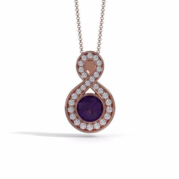 Large Sparkling Eternity Cremation Pendant in 18k Rose Gold with Diamonds