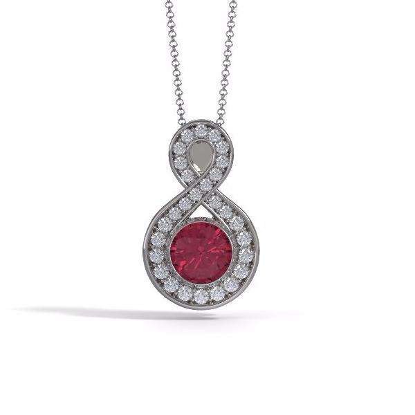 Large Sparkling Eternity Cremation Pendant in 18k White Gold with Diamonds
