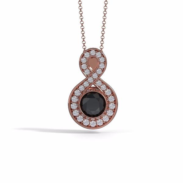 Medium Sparkling Eternity Cremation Pendant in 18k Rose Gold with Diamonds