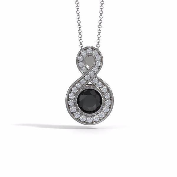 Medium Sparkling Eternity Cremation Pendant in 18k White Gold with Diamonds