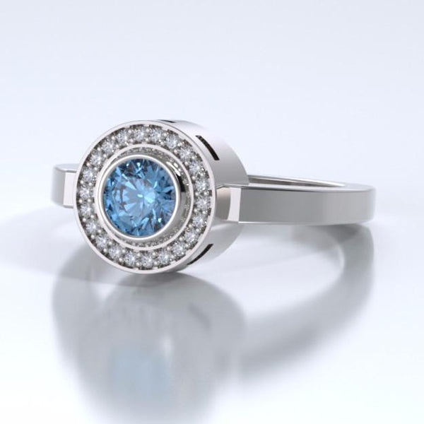 Sparkling Mystere Cremation Ring in 18k White Gold with Diamonds