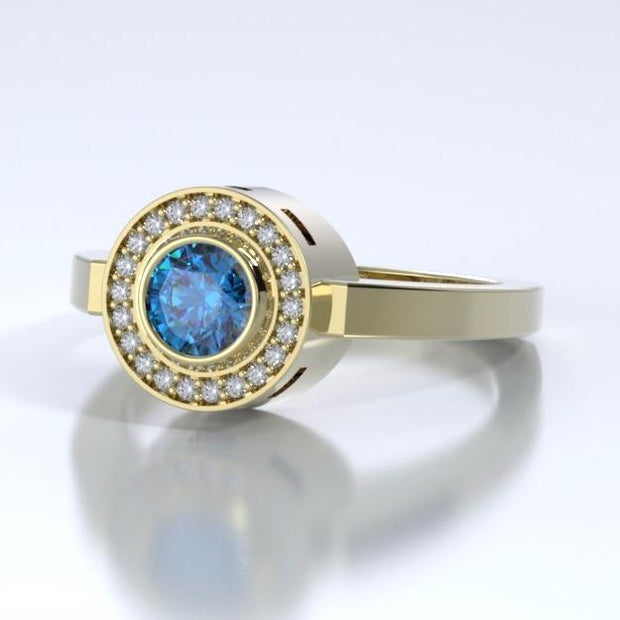Sparkling Mystere Cremation Ring in 18k Yellow Gold with Diamonds