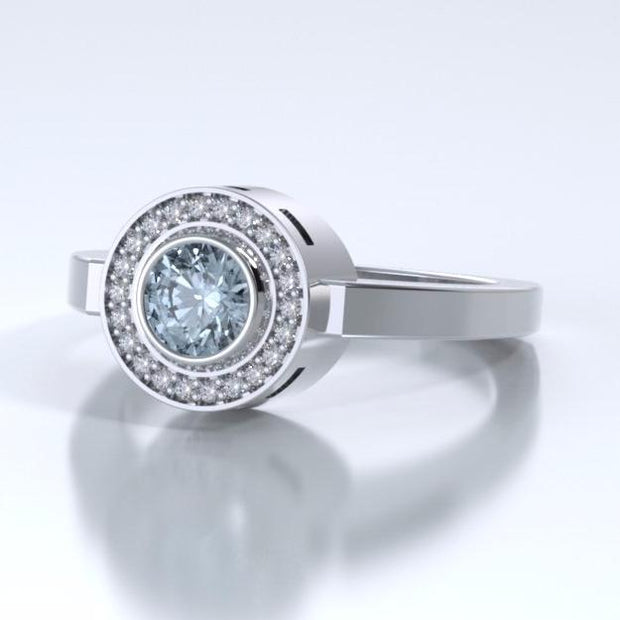 Sparkling Mystere Solitaire Cremation Ring in Platinum with Diamonds