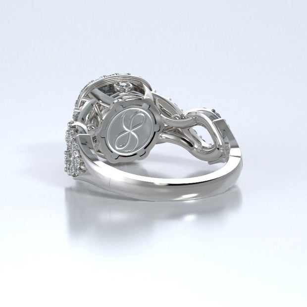 Diamonds Entourant Memorial Ring in 18K White Gold with Diamonds and Aquamarine Back