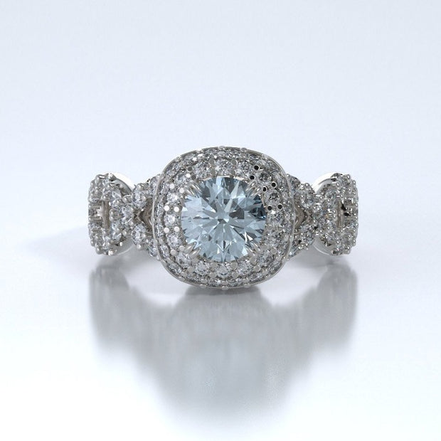 Diamonds Entourant Memorial Ring in 18K White Gold with Diamonds and Aquamarine Front