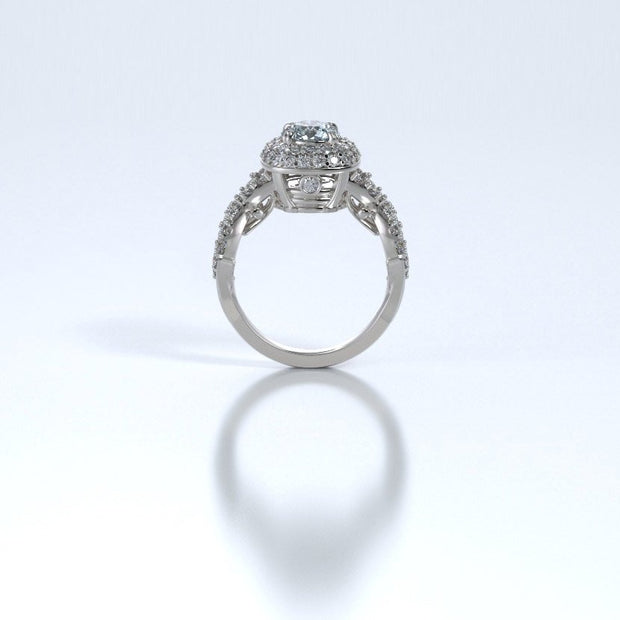 Diamonds Entourant Memorial Ring in 18K White Gold with Diamonds and Aquamarine Profile