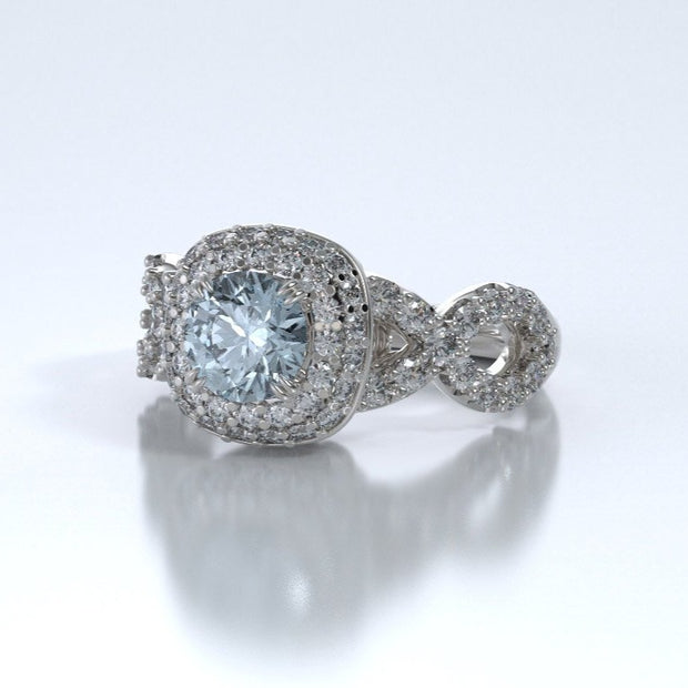 Diamonds Entourant Memorial Ring in 18K White Gold with Diamonds and Aquamarine Side