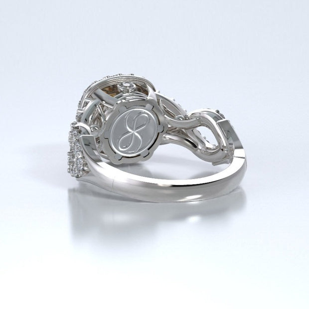 Diamonds Entourant Memorial Ring in 18K White Gold with Diamonds and Spessartite Garnet Back