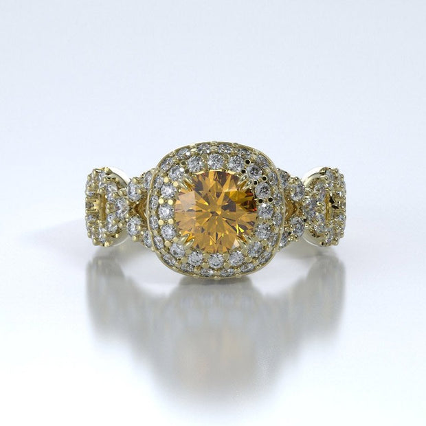 Diamonds Entourant Memorial Ring in 18K Yellow Gold with Diamonds and Citrine Front