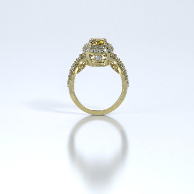 Diamonds Entourant Memorial Ring in 18K Yellow Gold with Diamonds and Citrine Profile