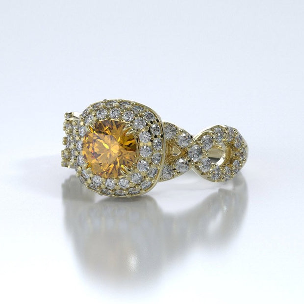 Diamonds Entourant Memorial Ring in 18K Yellow Gold with Diamonds and Citrine Side