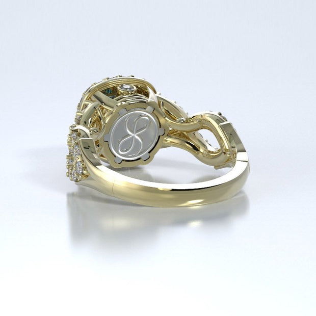 Diamonds Entourant Memorial Ring in 18K Yellow Gold with Diamonds and Blue Topaz Back