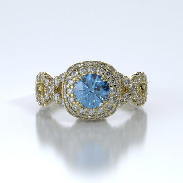 Diamonds Entourant Memorial Ring in 18K Yellow Gold with Diamonds and Blue Topaz Front