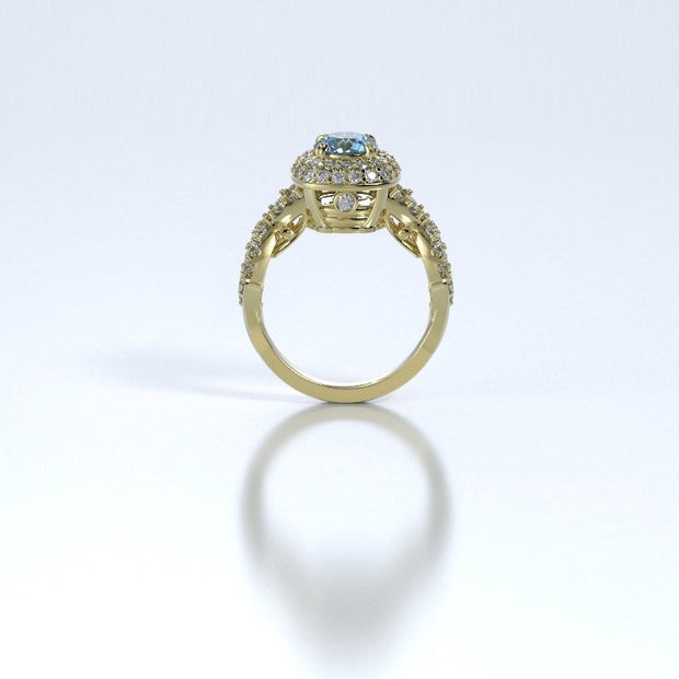 Diamonds Entourant Memorial Ring in 18K Yellow Gold with Diamonds and Blue Topaz Profile